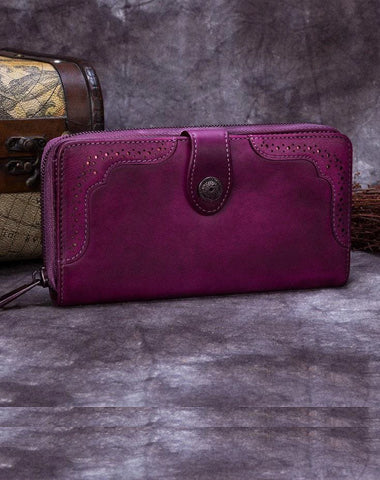 Brown Vintage womens Leather Bifold Wallet Purple Phone Wallet Red Zipper Wallet for Ladies