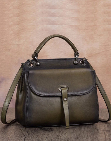 Green Vintage Ladies Leather Square Satchel Handbag Purse Brown SHoulder Bag Side Bag for WOmen
