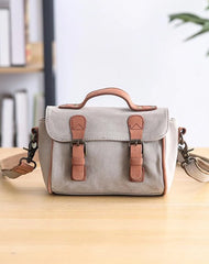 Canvas Leather Womens Green handbag Side Bag Khaki Messenger Bag Small Shoulder Bag For Men