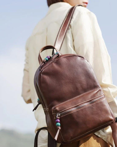 Fashion Womens Coffee Leather Zipper Leather Backpack Womens Best Womens Backpack