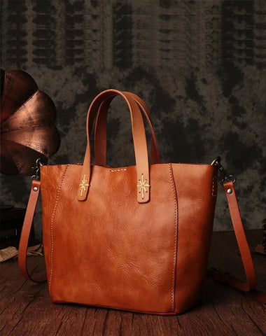Small Brown Womens Leather Tote Handbag Tote Shoulder Bag Side Bag Purse for Ladies