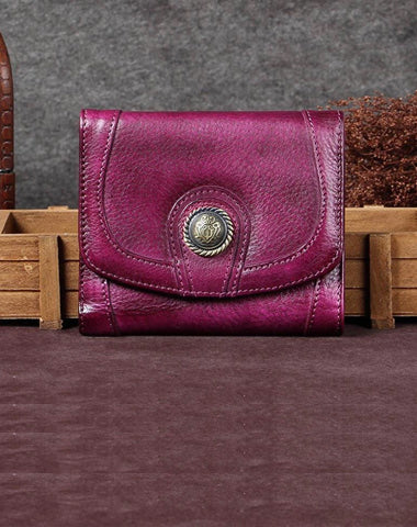 Purple Vintage Leather Womens Buckle Small Trifold Red billfold Wallet Purse for Ladies