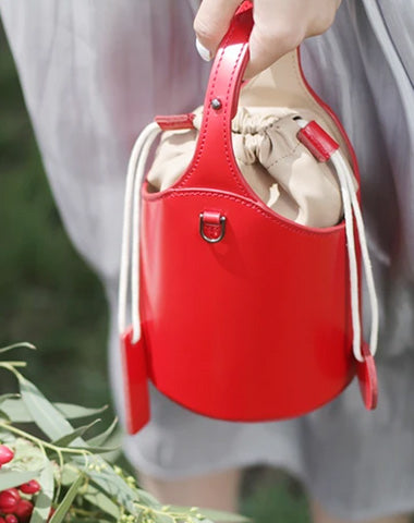 Cute Red Womens Leather Small Bucket Handbag  Black Small Barrel Shoulder Purse for Ladies