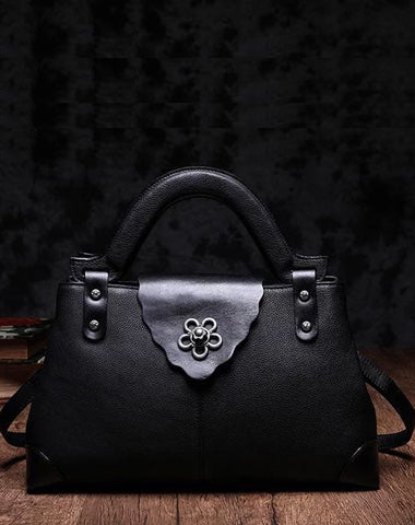 Black Vintage Leather Ladies Satchel Handbag Brown Shoulder Bag Purse for Women
