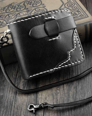 Handmade Black Leather Men's Small Biker Wallet Chain Wallet billfold Wallet with Chain For Men