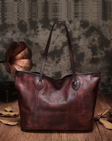 "Vintage Womens Leather 15"" Big Shopper Tote Bag Purses Coffee Leather Shoulder Tote Purses"