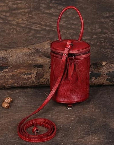 Red Womens Leather Bucket Handbag Womens Barrel Purse Small Brown Bucket Shoulder Purse