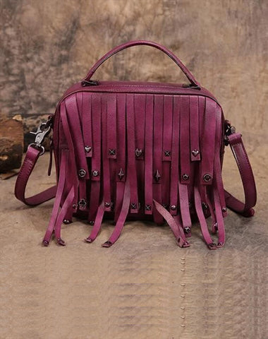Purple Vintage Womens Leather Purse Tassel Handbag Brown Shoulder Bag Crossbody Purses for Ladies
