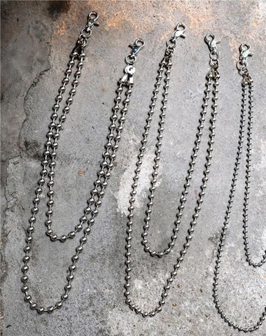 Cool Silver Mens Womens Beaded Pants Chain Long Double Wallet Chain For Men