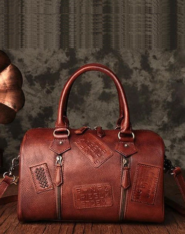 Vintage Womens Brown Leather Boston Handbags Boston Shoulder Handbag Crossbody Bags