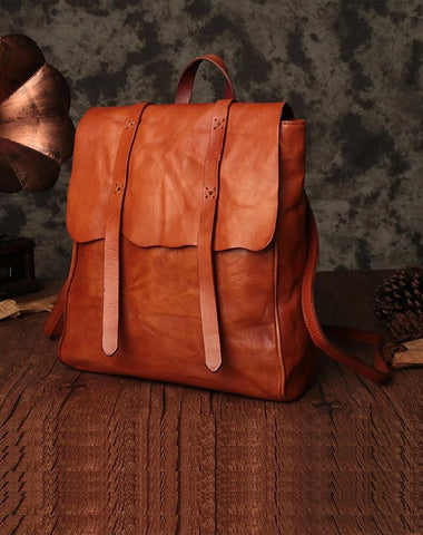 Vintage Brown Leather Womens Backpack Leather Fashion Backpack School Backpack Purse for Men