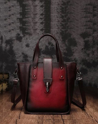 Small Vintage Red Womens Leather Bucket Handbag Brown Leather Bucket Shoulder Purse for Ladies