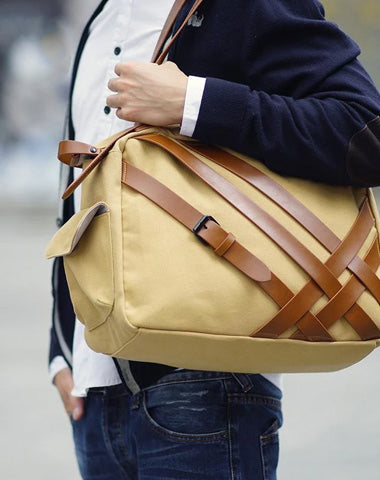 Cool Canvas PU Men's Casual Travel Shoulder Bag Travel Handbag Small Weekender Bag For Men