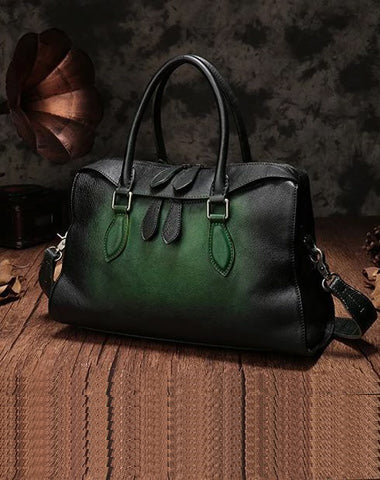 Vintage Womens Green Leather Handbag Purses Shoulder Handbag Purse Vintage Style Handbags for Ladies