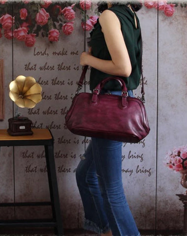 "Purple 13"" Womens Leather Doctor Handbag Gray Doctor's Bag Red Shoulder Bag Purse for ladies"