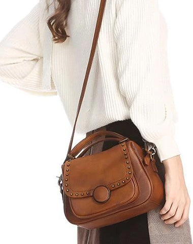 Brown Vintage Womens Leather Rivet Handbag Red Side Bag Satchel Bag Purse for Ladies