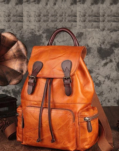 Brown Leather Vintage Mens Backpack Leather School Backpack Large Backpack for Women