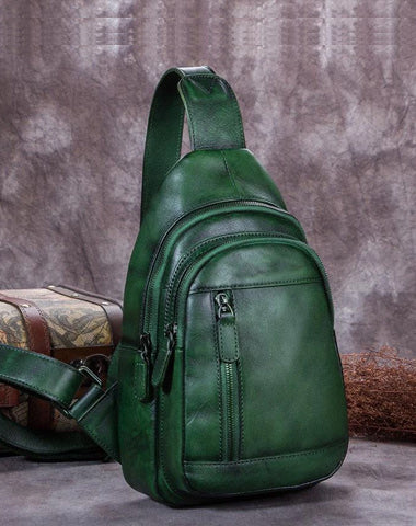 Vintage Green Womens Leather Sling Bag Chest Bags Purses One Shoulder Backpack for Ladies
