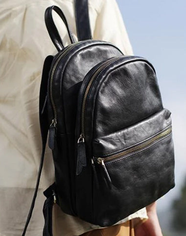Fashion Womens Black Leather Backpack Purse Leather School Backpack Book Bag Purse