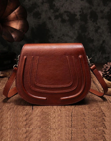 Vintage Womens Brown Leather Saddle Handbag Vintage Style Shoulder Purses for Ladies
