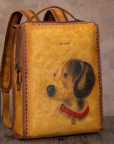 "14"" Handmade Ladies Leather Womens Backpack Paint Puppy Tooled Leather Rucksack Bag"