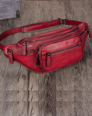 Red Leather Womens Fanny Pack Hip Belt Bags Brown Waist Bag Hip Bag Bum Bag for Women