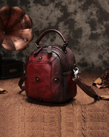 Red Geometric Vintage Womens Leather Round Brown Handbag Box Shoulder Bag Purse for Ladies