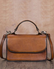 Tan Vintage Womens Leather Square Satchel Handbag Brown Shoulder Bag Purse for Ladies