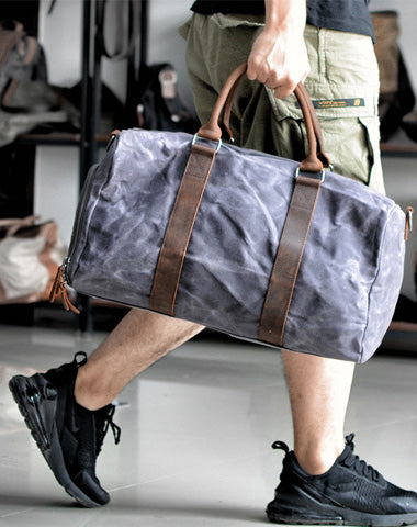 Waxed Canvas Leather Mens Large Fitness Bag Travel Green Weekender Bag Duffle Bag for Men