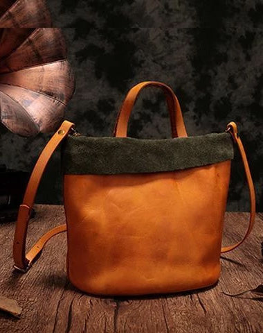 Vintage Womens Leather Brown Tote Handbag Small Green Shopper Tote Shoulder Tote for Ladies
