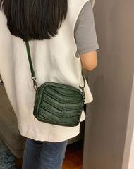 Dark Green Women's Small Side Bag Satchel Brown Vintage Shoulder Bag Square Crossbody Bag for Ladies