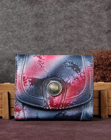 Colorful Vintage Womens Leather Buckle Small Trifold Wallet billfold Wallet Purse for Ladies