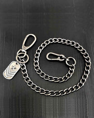 Cool Silver Tag Long Mens Pants Chain Military Tag Wallet Chain Jean Chains For Men