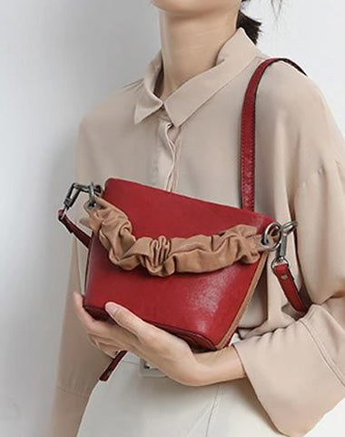 Red Cute Small Womens Leather Bucket Handbag Brown Fashion Barrel Purses for Ladies