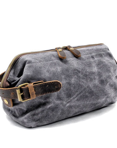 Cool Waxed Canvas Leather Mens Black Clutch Bag Handbag Phone Bag Wash Bag For Men