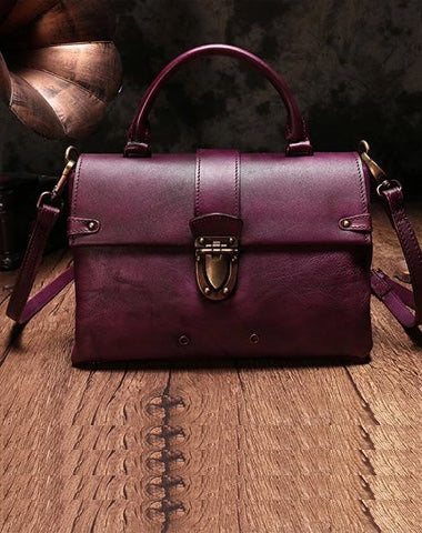 Vintage Womens Purple Leather Satchel Handbags Purse Shoulder Crossbody Bags for Ladies