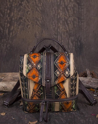 Vintage Leather womens Small Backpacks Country Style School Backpack for Ladies