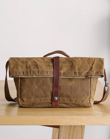 Waxed Canvas Mens Side Bag 13'' Khaki Courier Bag Messenger Bag for Men