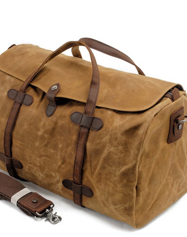 Casual Waxed Canvas Mens Large Travel Waterproof Weekender Bag Shoulder Duffle Bag for Men