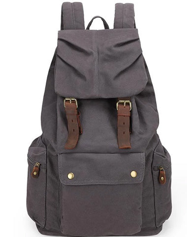 "Canvas Leather Women Mens 14"" Khaki Travel Backpack Green Computer Bag College Backpack for Men"
