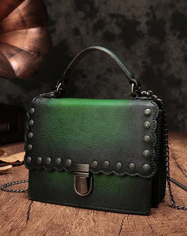 Vintage Womens Leather Handbags Purse Green Satchel Handbags Shoulder Crossbody Bags for Ladies