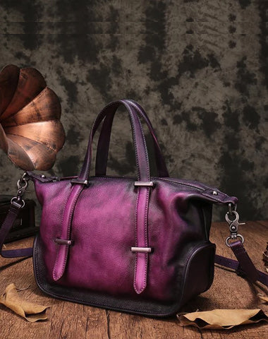 Vintage Womens Purple Leather Handbag Purse Shoulder Handbags Crossbody Bags for Ladies