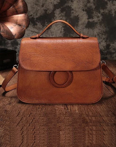 Brown Ladies Vintage Leather Shoulder Satchel Purse Handbags Green Structured Satchel Purse for Ladies