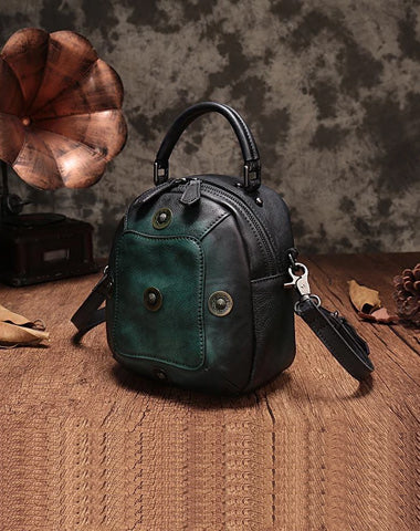 Green Geometric Vintage Womens Leather Round Brown Handbag Box Shoulder Bag Purse for Ladies