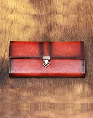 Red Vintage Folded Womens Leather Long Wallet Green Clutch Bags Purses for Ladies