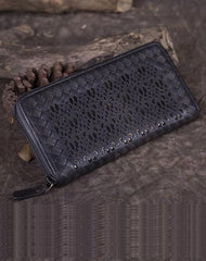Vintage Womens Black Leather Long Wallet Clutch Brown Long Woven Wallet Purses for Ladies