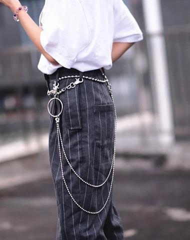 Badass Punk Mens Womens Stainless Steel Double Beaded Pants Chain Wallet Chain For Men