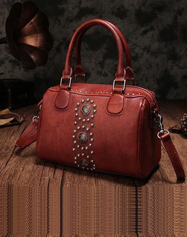 Red Vintage Ladies Leather Rivet Boston Handbag Purse Brown Shoulder Handbag for Women