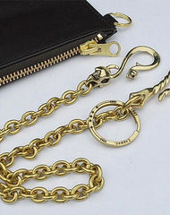 Badass Gold Brass Long Mens 18'' Biker Wallet Chain Biker Pants Chain Trucker Wallet Chain for Men