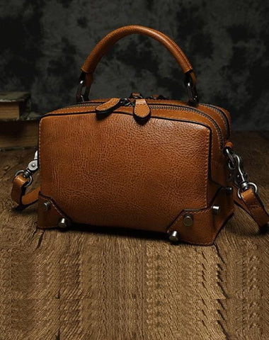 Brown Leather Satchel Box Handbags Womens Red Satchel Small Crossbody Bag for Ladies